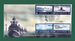 INDIA 2011 - PRESIDENT´S FLEET REVIEW MUMBAI - CACHET FDC - INDIAN NAVY , SHIP , SHIPS , SUBMARINE , AIRCRAFT - As Scan - Barcos
