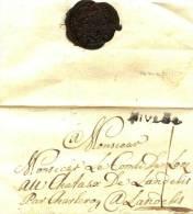 PRECURSEUR - NOBLESSE LE COMTE DE LOOZ  - DEVANT DE LETTRE+CACHET CIRE + GRIFFE NIVELLE - 1815-1830 (Dutch Period)