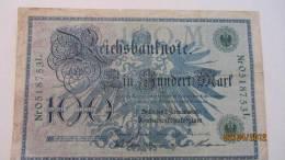"Reichsbanknote ""Ein Hundert Mark"" Berlin, Den 7. Februar1908  Nr. 0518753 L - [ 2] 1871-1918 : Duitse Rijk"