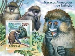 ang11102c Angola 2011 WWF monkey nologo s/s