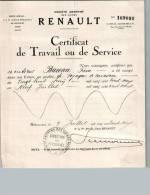 Entête Du 09/07/1932 RENAULT Certificat De Travail - Billancourt - Cars