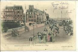 14, Calvados,TROUVILLE -SUR-MER, La Promenade De La Plage Animée Et En Couleurs,Scan Recto-Verso - Trouville