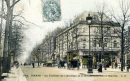 75-PARIS..LE THEATRE DE L'AMBIGU ET LE BD.ST-MARTIN....CPA ANIMEE - Bar, Alberghi, Ristoranti