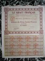 Action - France - Le Kraft Francais - Papier - Beautiran Gironde -  Action De 500 F - 1931 - Industrie