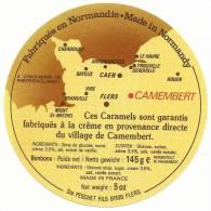 étiquette De  Caramel ,     Caen , Flers  Bayeux,rouen ,  Cherbourg , Etc  Normandie   Caramels - Etiquettes