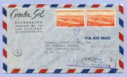 Air Mail Registered Letter EL SALVADOR SAN SALVADOR To PORT CHESTER USA 1955 (856) - El Salvador