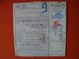 Belgien:Eisenbahnpaketkarte Von 1965 ! - Bahnwesen
