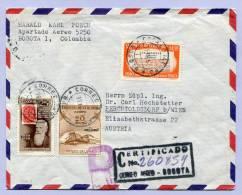 Air Mail Registered Certificado Letter COLOMBIA KOLUMBIEN BOGOTA To AUSTRIA 1960 (859) - Kolumbien
