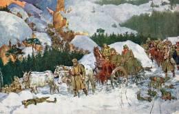 CARTE POSTALE ANCIENNE.ALBANIE.GUERRE 1914-1918.L' ARMEE SERBE TRAVERSE L' ALBANIE. DESSIN. 1914. - Albanië