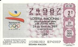 Spain Lottery Ticket  JJOO Barcelona 92 - Spain 1992 Olympic Games - Lottery Tickets