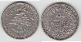**** LIBAN - LEBANON - 50 PIASTRES 1952 - ARGENT - SILVER **** EN ACHAT IMMEDIAT !!! - Liban