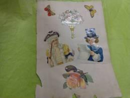 Lot De Chromo -papillon-bouquet De Fleurs (aubepine)--rose-enfants Deguises-chapeau Etc.. - Non Classés