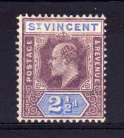 St Vincent - 1902 - 2½d Definitive (Watermark Crown CA) - MH - St.Vincent (...-1979)