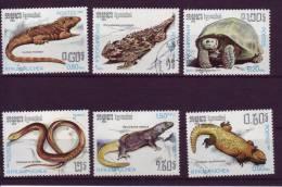 Kampuchéa YV 751/6 O 1987 Reptiles - Reptiles & Batraciens