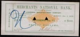 USA CHECK MERCHANTS NATIONAL BANK VALUE $30.00 1876 USED - Coins & Banknotes