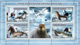 gb7211a Guinea Bissau 2007 Int'l Polar Year s/s Whale seals Bird Ship