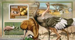 gb7224b Guinea Bissau 2007 Birds ostrich s/s scouting