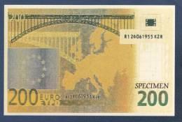 CP SPECIMEN DE BILLET DE 200 EURO - - Monnaies (représentations)