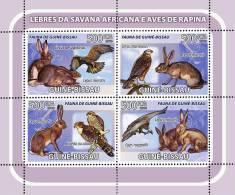 gb8205a Guinea Bissau 2008  birds of prey Rabbit s/s