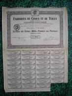 Action - France - Fabrique De Chaux Et De Tuiles - Strasbourg - Schiltigheim - Action 2000 Francs - 1920 - Industrie