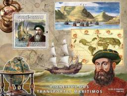 gb8512b Guinea Bissau 2008 Pioneers of sea transport s/s Vasco de Gama, F. Magelanes