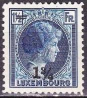 1929 Grossherzogin Charlotte Mit Neuem Wertaufdruck : 1 3/4 Fr / 1½ Fr.blau  (191) Mit Falz Michel 220 - 1926-39 Charlotte Rechterzijde
