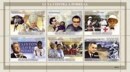 Gb9307a Guinea Bissau 2009 Fight Against Poverty Pope Benedict XVI Bono A.Schweitzer Red Cross B.Clinton Nelson Mandela - Albert Schweitzer