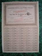 Action - France - Navigation - Constructions Systeme Tollet - Part De Fondateur - Paris 1881 - Actions & Titres
