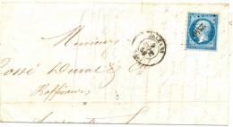 Lettre Napoléon N°14  Orléans Loiret 9/9/1858 Nantes Loire Inférieure Petits Chiffres 2340 Dos  Ambulant Paris Nantes E - Marcofilia (sobres)