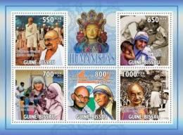 gb10402a Guinea Bissau 2010 Humanists Mahatama Gandhi Mother Teresa s/s