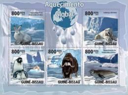 gb10106a Guinea Bissau 2010 Global Warming & Animals Rabbit Penguin Seal OX Polar Bear