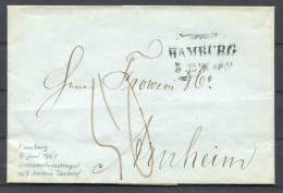 1851 Vorphila-Brief Aus Hamburg Mit Schmetterlings-Stempel Taxbrief - Germany
