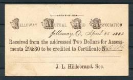 1884 USA Jelloway Mutual Aid Association Stationery Postcard