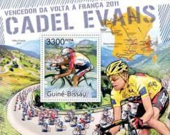 gb11511b Guinea Bissau 2011 Winner of Tour de France 2011 Cadel Evans s/s Cycling