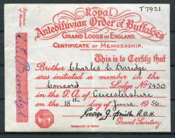 1956 Royal Antediluvian Order Of Buffaloes Concord Lodge Leicestershire Membershire Certificate - Historical Documents
