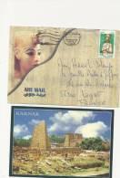 Marcophilie - Lettre D'egypte Par Avion + Post Card Karnak - - Poste Aérienne