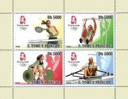 st81Ol S.Tome Principe 2008 Olympic Beijing s/s Weightlifting Rowing Gymnastics Tenni