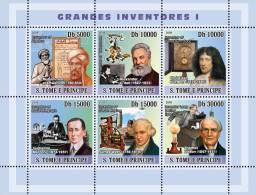 st8207a S.Tome Principe 2008 Inventors s/s G.Bell Telephone C. Huygens Clock G. Marconi Nobel J.Watt T.Edison