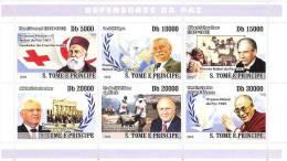 St8310a S.Tome Principe 2008 Peacekeepers Nobel S/sRed Cross Walesa Schweitzer Dalai Bird Gorbachev - Albert Schweitzer