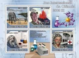 St9307a S.Tome Principe 2009 Year Of Science III S/s Volcano Nobel Prize H.Tazieff D.Mendeleev A.Schweitzer Red Cross - Albert Schweitzer