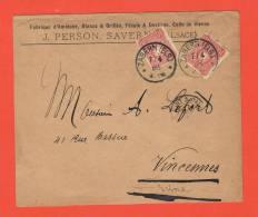 Fabrique D'Amidon,Blancs & Grillés,Fécule & Dextrine,Colle De Vienne J.PERSON SAVERNE ZABERN ELS. 1888 - Marcophilie (Lettres)