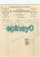 FACTURE - ANGERS - E. CHARTIER - 21 Place La Fayette - Serrurerie - Electricité - Ouvertures De Coffres - Frankrijk