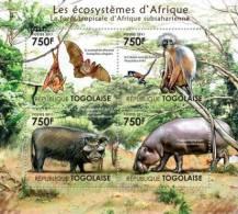 tg11403a Togo 2011 Fauna of the Tropical Forest of Sub-Sahara s/s Bat monkey Pig Hippo hippopotamus