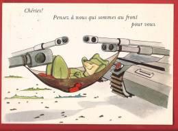 Y0191 Chéries, Pensez à Nous Qui Sommes Au Front Pour Vous.Soldat Faisant La Sieste Entre Deux Blindés.Cachet Militaire - Umoristiche