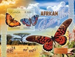 ugn12101b Uganda 2012 Butterflies s/s Bird Deer Cactus