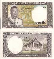 Laos P-11b, 20 Kip, King Savang Vatthana, Temple / Wat Sop Monestary, 1963 - Laos
