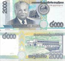 Laos P41, 2000 Kip, Kaysone Phomvihane, Pagoda / Hydroelectic Complex, 2011 $7+CV - Laos