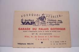 CANNES - (carte De Visite) Garage Du Palais Gothique - Cyclisme