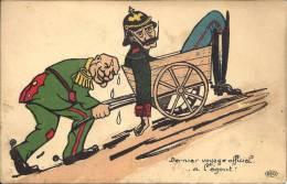POLITIQUE - Guerre - Caricature Dernier Voyage Officiel à L'égout - Soldat Allemand Transporté Dans Une Charette - Satiriques