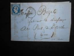 D10.n°14 Sur LAC,nuance ,variété,de Chartres A Pont-de-l'arche1859.Verso Ambulants.A Voir!!!!!!!!!!!!! - 1853-1860 Napoléon III.